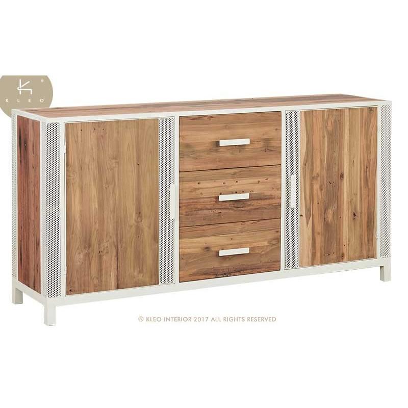 Buffet industriel CHIC 180 cm 2 portes 3 tiroirs métal et bois recyclé