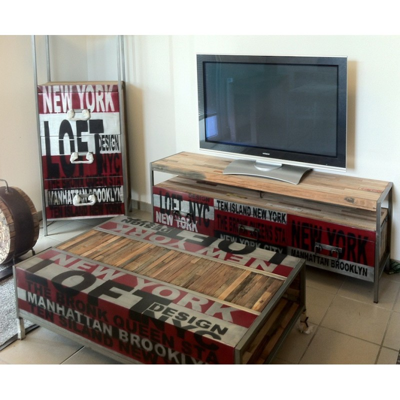 meuble tv loft en fer et bois de bateau recycl. Black Bedroom Furniture Sets. Home Design Ideas