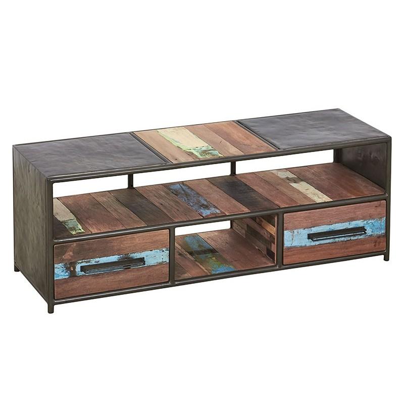 Meuble TV industriel Drum 2 tiroirs 120