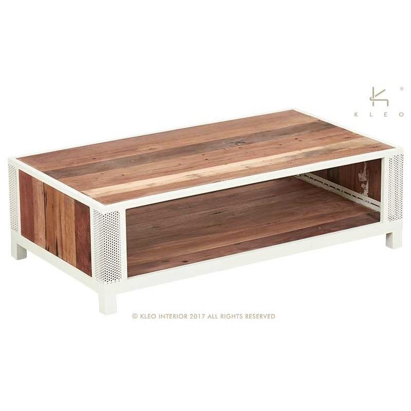 Table basse industrielel 115 cm CHIC 2 portes 1 tiroir métal et bois recyclé
