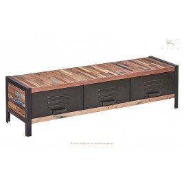 N°1.4AK03 - Meuble TV 3 tiroirs Industriel fer et de bois de bateau recycle