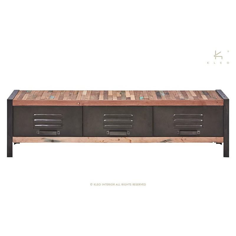 meuble tv 3 tiroirs industriel fer d poli et lattes de. Black Bedroom Furniture Sets. Home Design Ideas