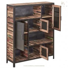 Bibliothèque industrielle métal bois