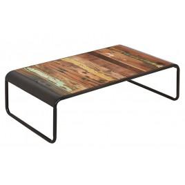 table basse industrielle rectangulaire rétro fer et planches de bois de bateau recyclé
