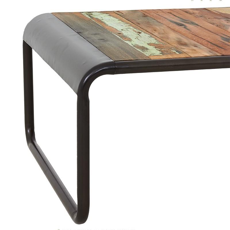 table basse industrielle vintage fer et de bois de bateau recycle. Black Bedroom Furniture Sets. Home Design Ideas