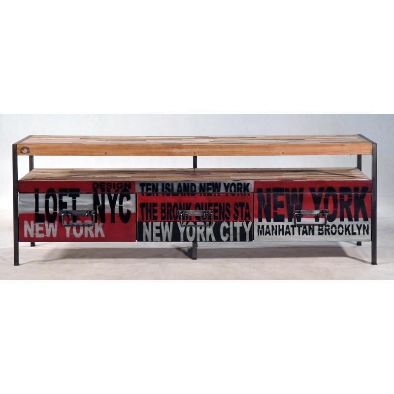 Meuble tv loft en fer et bois de bateau recycl for Meuble tv style loft
