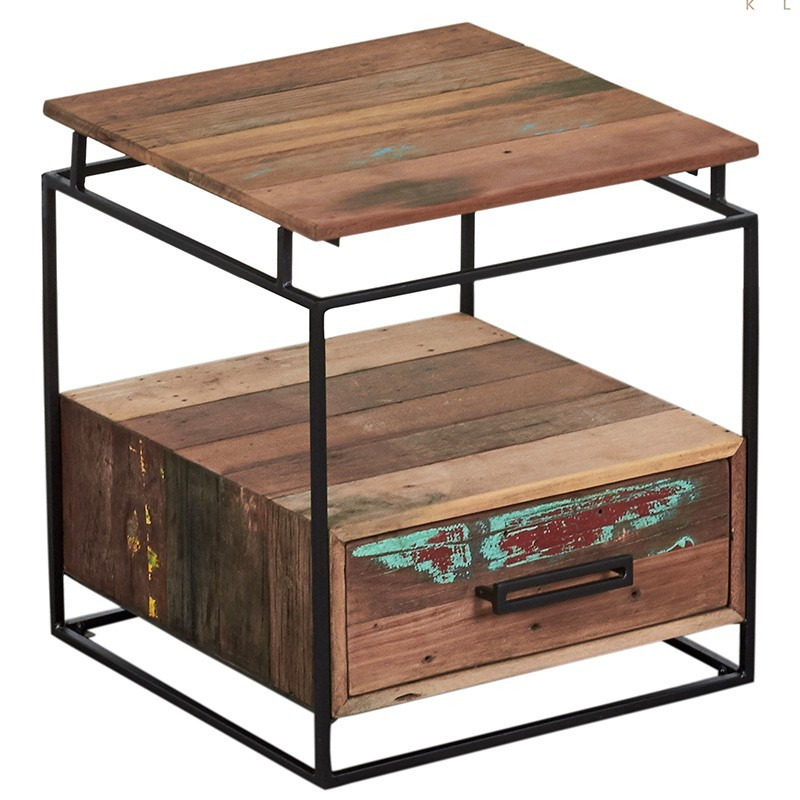 Chevet Nako industriel 1 tiroir  métal et bois recyclé