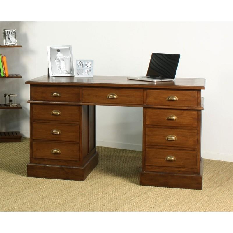 Bureau ministre in line en teck en vente chez origins meubles