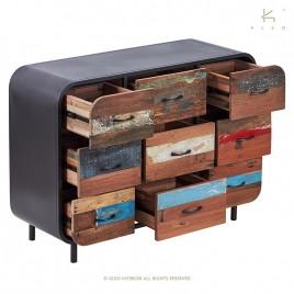Commode Industrielle Vintage fer et de bois recyclé